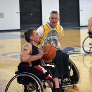 playing wheelchair basketball